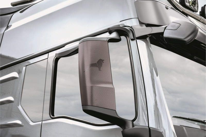 Carbon-look wing mirrors on MAN TGX 2021